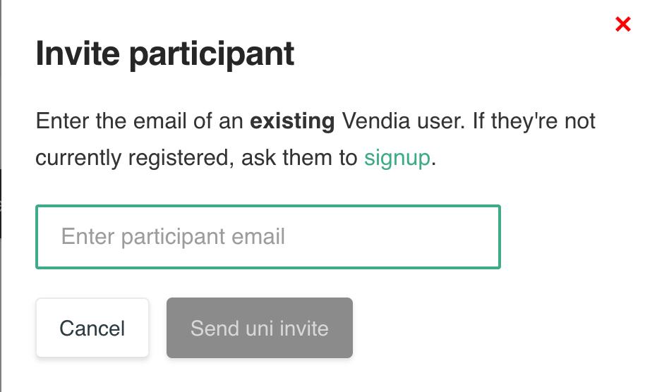 Uni Invitation - Specify Participant