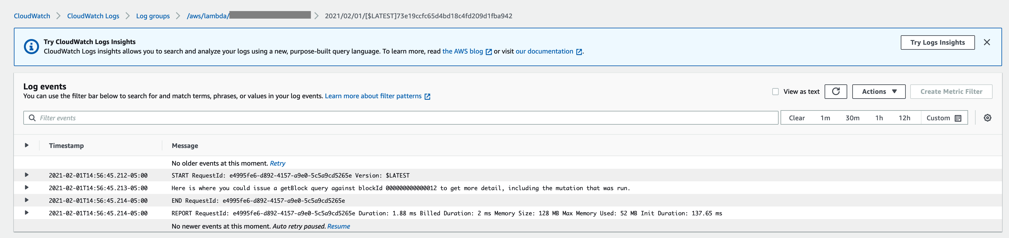 CloudWatch Log Entry When New Item Added